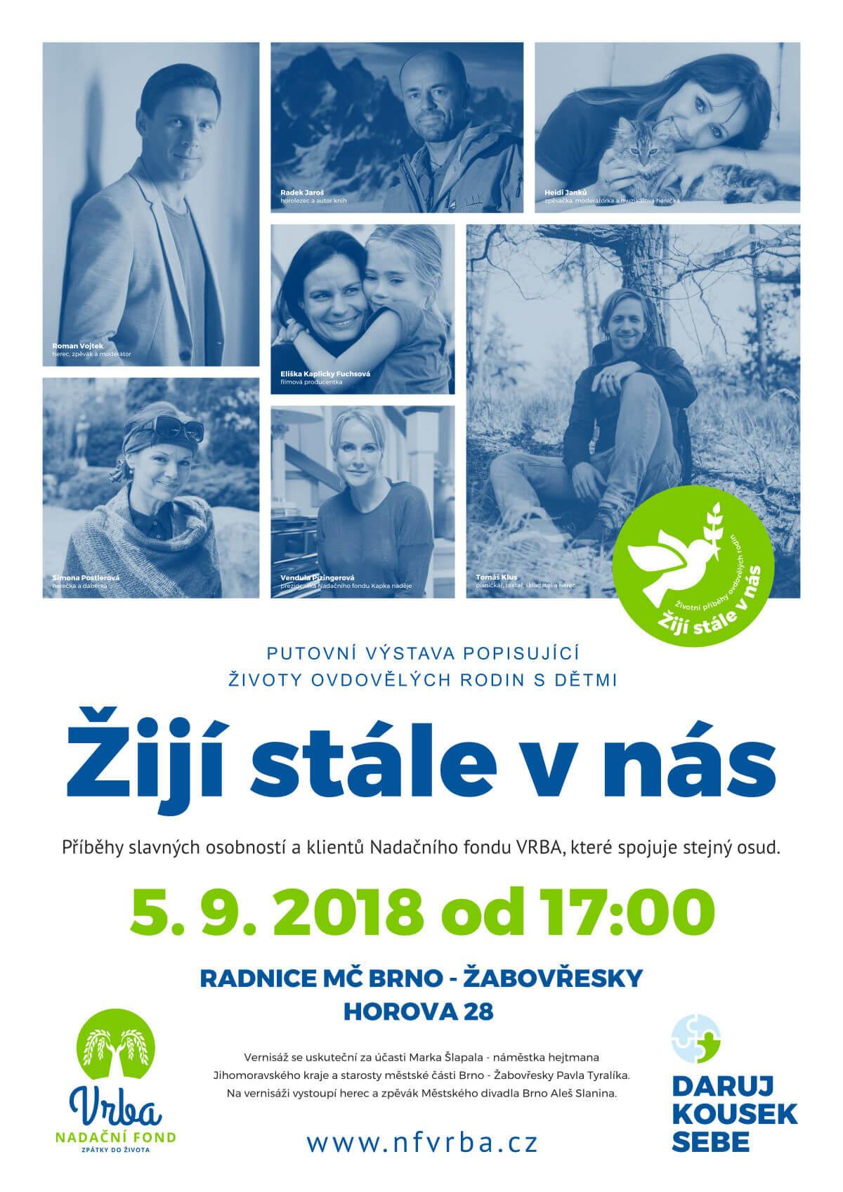 Pozvánka na putovní výstavu Žijí stále v nás (5.9. 2018, Brno-Žabovřesky)